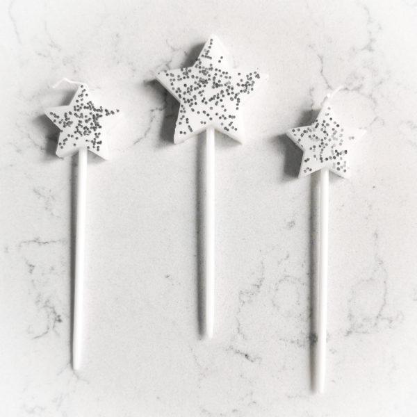 Свеча для торта, звезда (серебряная)
